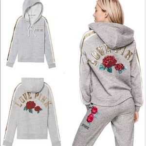 VS PINK ROSE 🌹 BLING HOODIE AND SWEAT PANTS XS